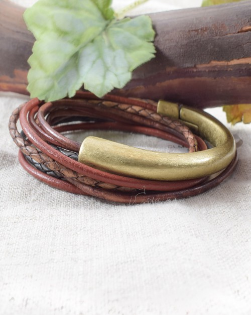 Leather Half Cuff Wrap Bracelet - orangeshine.com