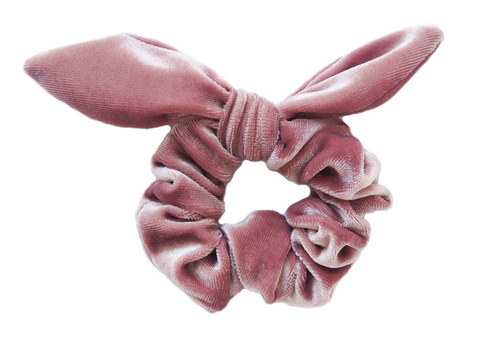 Blush Pink Velvet Scrunchie With Bow - orangeshine.com