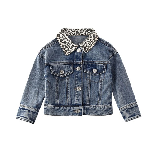Leopard collar denim jacket  - orangeshine.com
