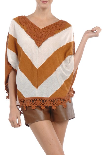 RT5644 V STRIPED TOP RUFFLE DETAILED - orangeshine.com