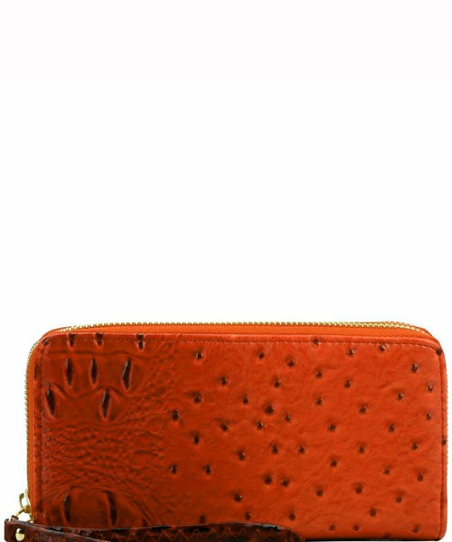 Ostrich Print Embossed Zip-Around W - orangeshine.com