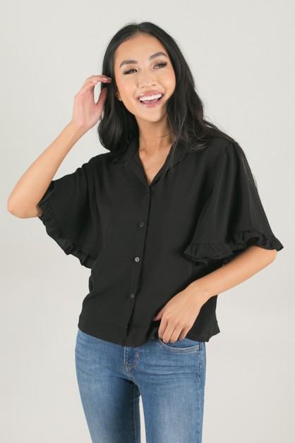 Ruffle Sleeve Button Down Top - orangeshine.com
