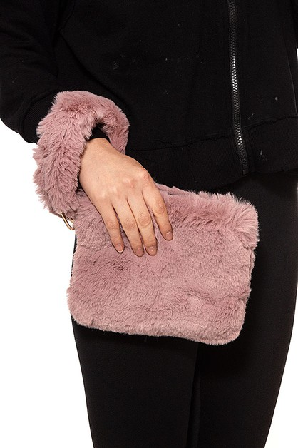 FAUX FUR CLUTCH BAG - orangeshine.com