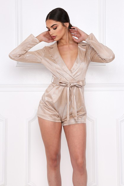 METALLIC BLOUSE ROMPER BELT TIE - orangeshine.com