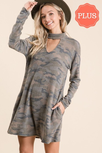 CAMO LONG SLEEVE MINI DRESS - orangeshine.com
