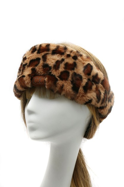CC LEOPARD PRINT FUR HEAD WRAP - orangeshine.com