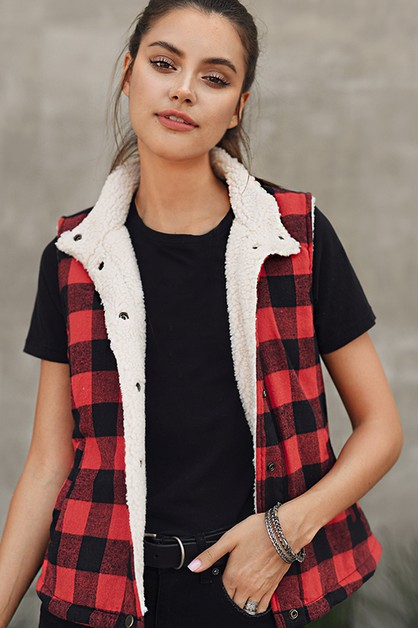 BUFFALO PLAID TRUCKER VEST - orangeshine.com