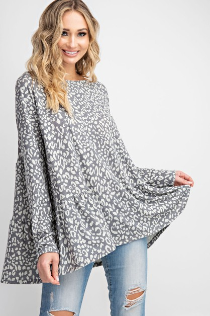 ANIMAL PRINT WIDE NECK LOOSE FIT TUN - orangeshine.com