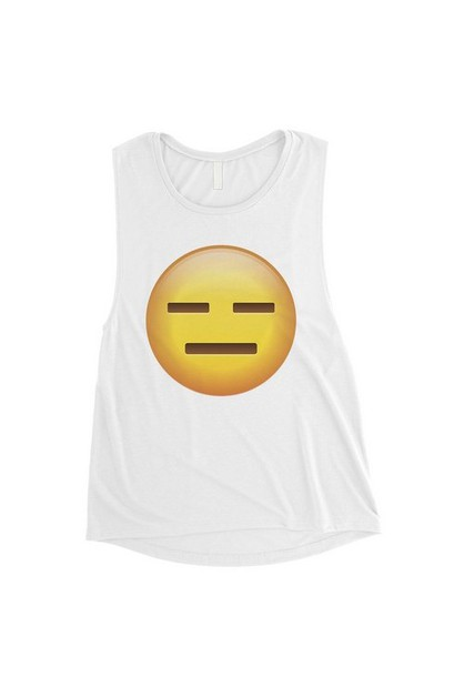 Emoji-Emotionless Muscle Top - orangeshine.com