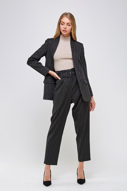 BELTED STRIPED PANTS - orangeshine.com