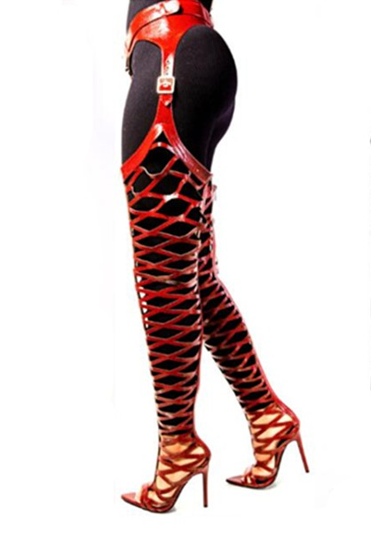Peep Toe Stiletto Heel Riding Boots - orangeshine.com