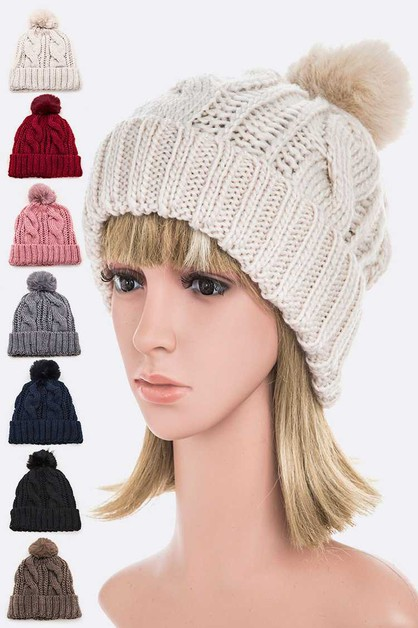 Cable Knit PomPom Winter Beanie Set - orangeshine.com