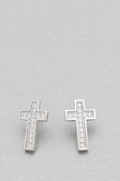 CZ CROSS EARRING - orangeshine.com