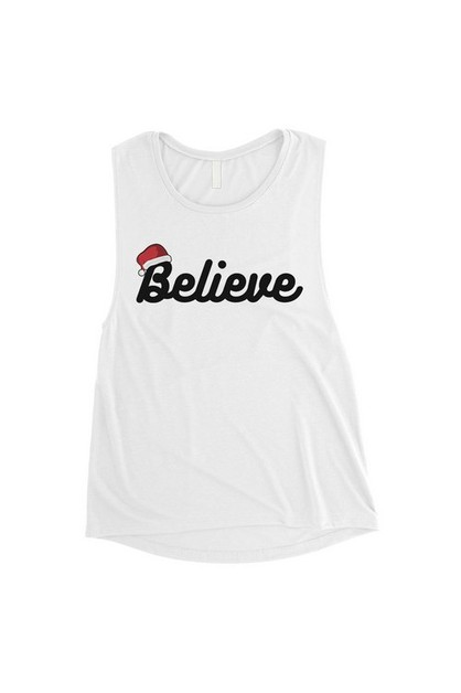 Believe Santa Hat Muscle Top - orangeshine.com