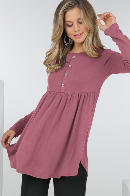 Long Sleeve Tunic Top W Button Trim  - orangeshine.com
