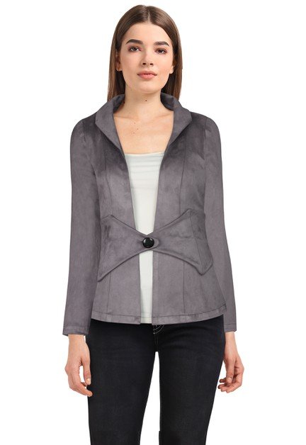 Plus Size Gray Suede Jacket - orangeshine.com