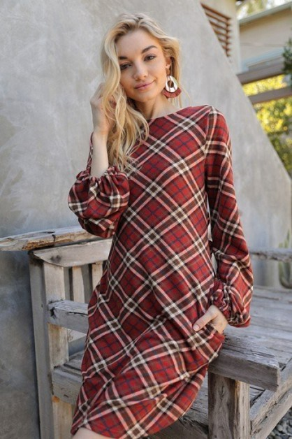FALL DAYS PLAID LONG SLEEVE DRESS - orangeshine.com