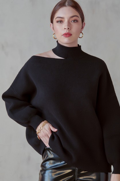 MOCK NECK KNIT SWEATER - orangeshine.com