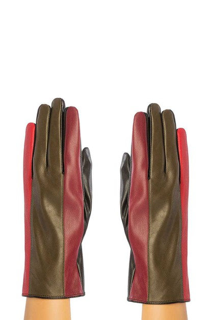 FAUX LEATHER WITH COLOR BLOCK GLOVES - orangeshine.com