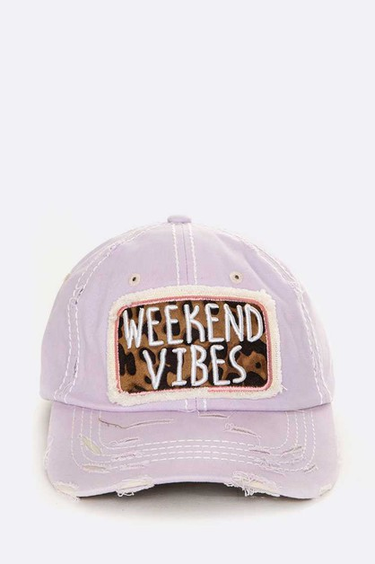 WEEKEND VIBES Embroidery Cotton Cap - orangeshine.com