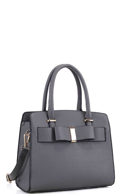 CHIC FRONT RIBBON ACCENT SATCHEL  - orangeshine.com