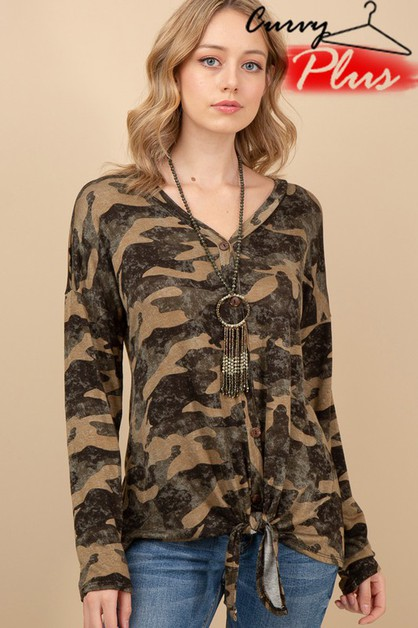 CAMOUFLAGE PRINT BUTTONED TOP  - orangeshine.com