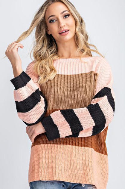 MULTI COLOR STRIPE LOOSE FIT SWEATER - orangeshine.com