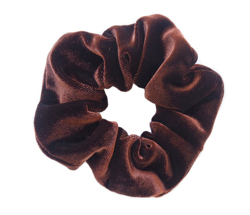 Brown Velvet Scrunchie - orangeshine.com