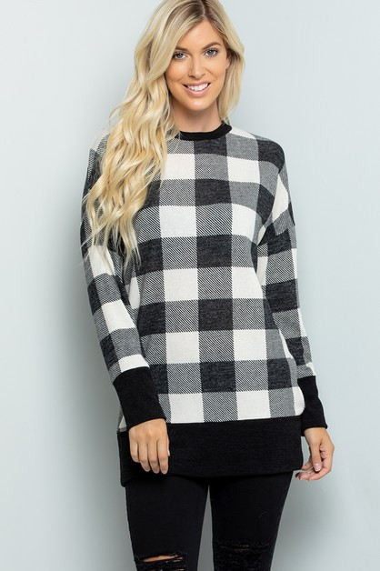 Plaid tunic with solid band contrast - orangeshine.com