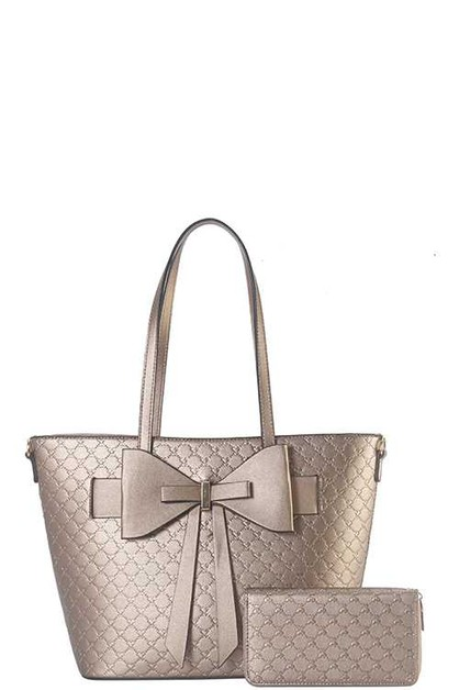 2 IN 1 RIBBON ACCENT TOTE BAG SET - orangeshine.com