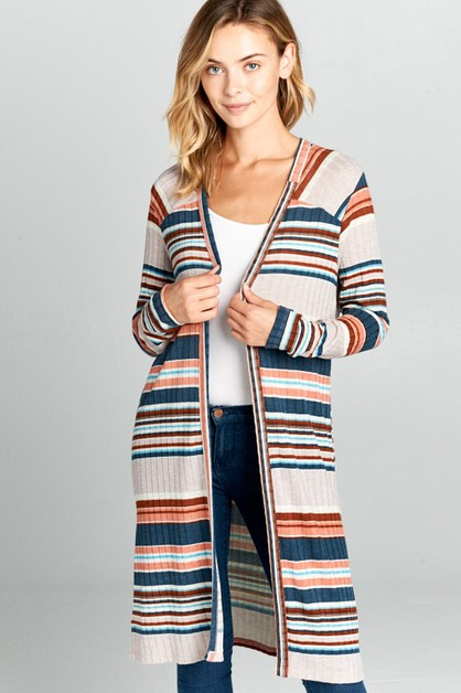 Long Sleeve Striped Cardigan - orangeshine.com