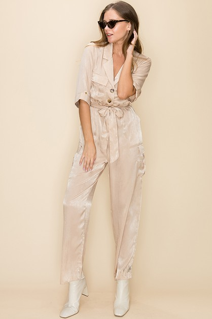 SATIN UTILITY JUMPSUIT WITH BELT - orangeshine.com