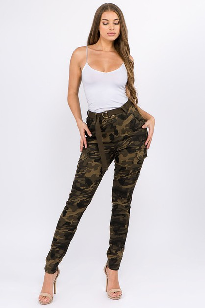 HIGH WAIST SKINNY CARGO PANTS - orangeshine.com