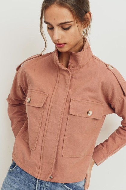 Linen Patch Pocket Jacket - orangeshine.com