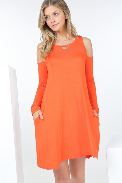 Cold Shoulder Long Sleeve Dress W Po - orangeshine.com