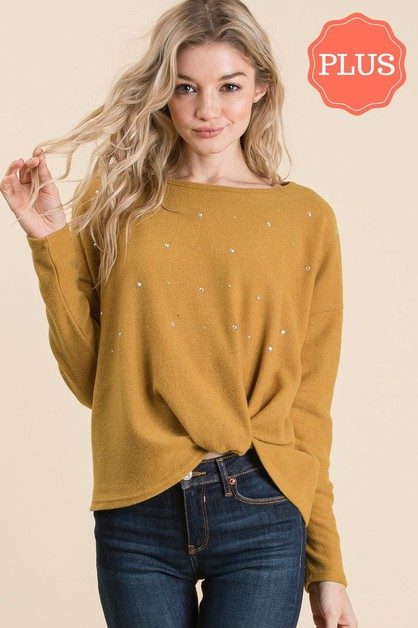 FRONT GATHERED EMBELLISHED SWEATER - orangeshine.com