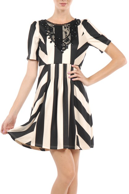 RDA3413 STRIPED SHORT SLEEVE DRESS - orangeshine.com