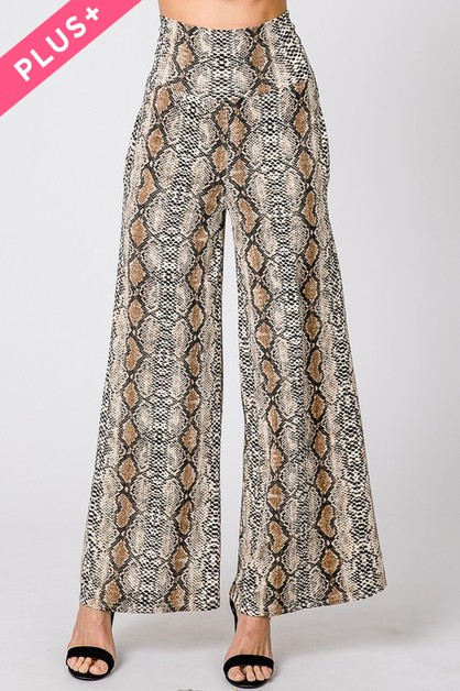 PYTHON ANIMAL PRINT DRAPED PANTS - orangeshine.com