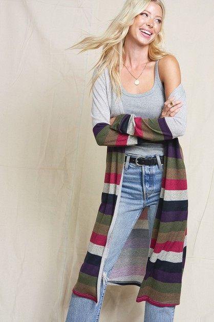 BECCA STRIPE LONG CARDIGAN - orangeshine.com