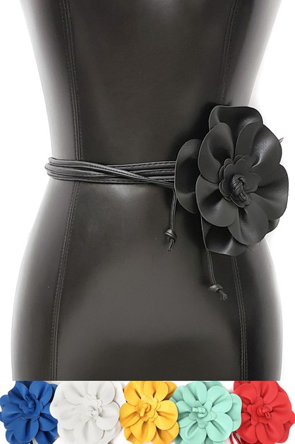 big pu flower double tie kimono belt - orangeshine.com
