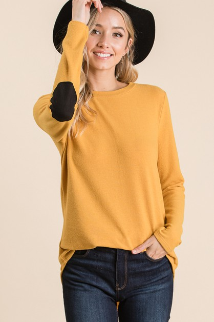 LONG SLEEVE ELBOW PATCH KNIT TOP  - orangeshine.com