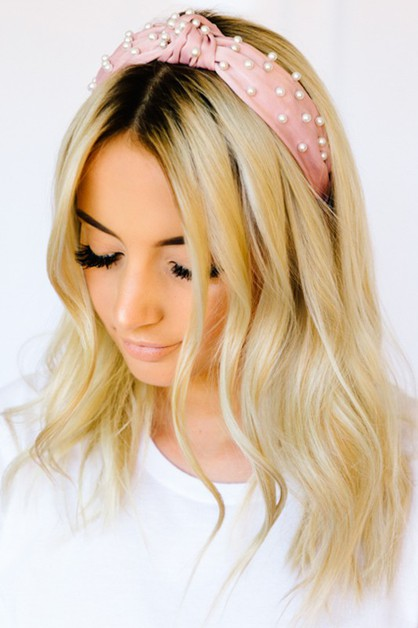 Pearl Embellished Top Knot Headband - orangeshine.com