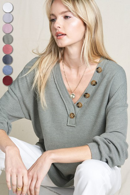 Button V-neck Knit Top - orangeshine.com