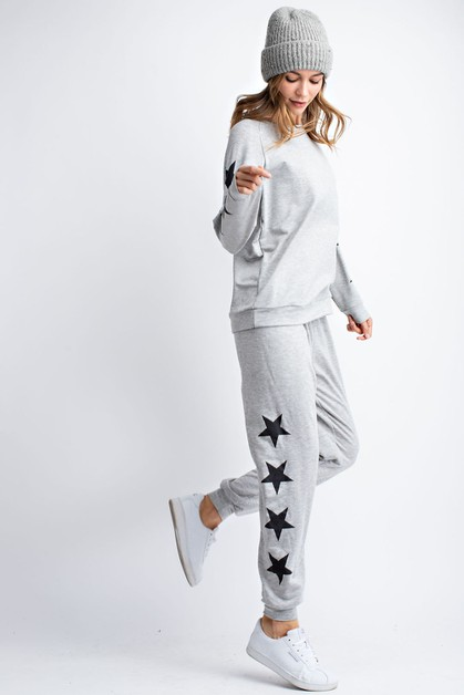 FRENCH TERRY STAR PRINT KNIT PANTS - orangeshine.com