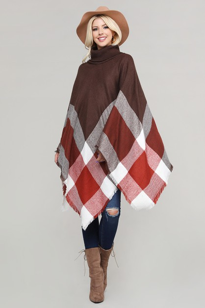 Plaid Turtleneck Knit Poncho Shawl - orangeshine.com