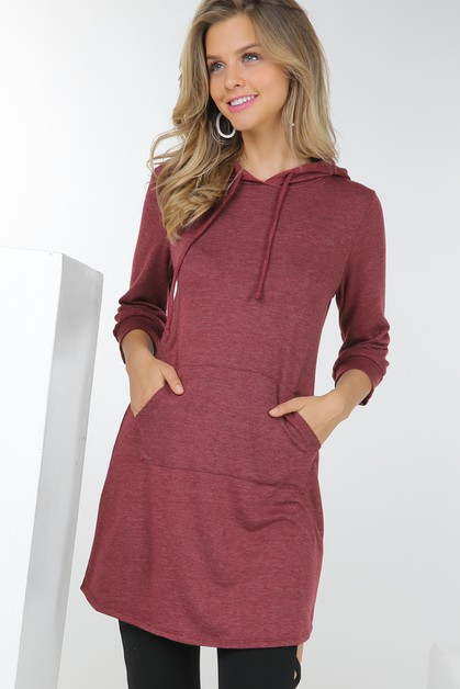 French Terry Hooded Tunic Top With K - orangeshine.com
