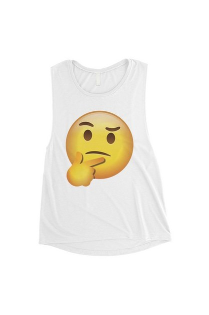 Emoji-Thinking Muscle Top - orangeshine.com