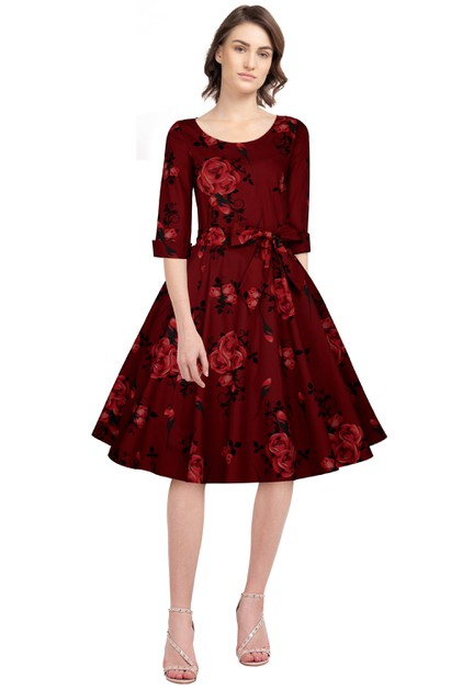Plus Size Red/Floral Retro Dress - orangeshine.com