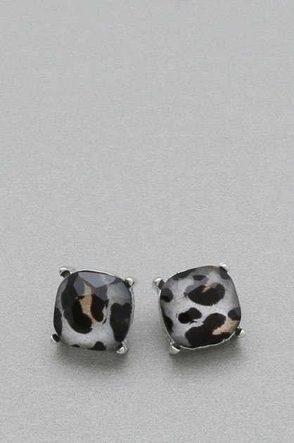LEOPARD PRINT ACRYLIC POST EARRINGS  - orangeshine.com