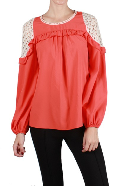 RT5585 CROCHET SHOULDER LONG SLEEVE - orangeshine.com